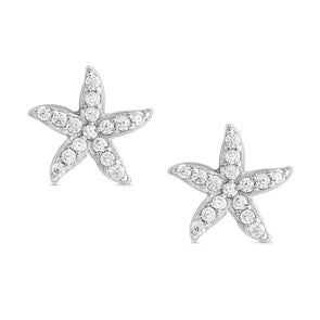 Starfish CZ Stud Earrings in Sterling Silver