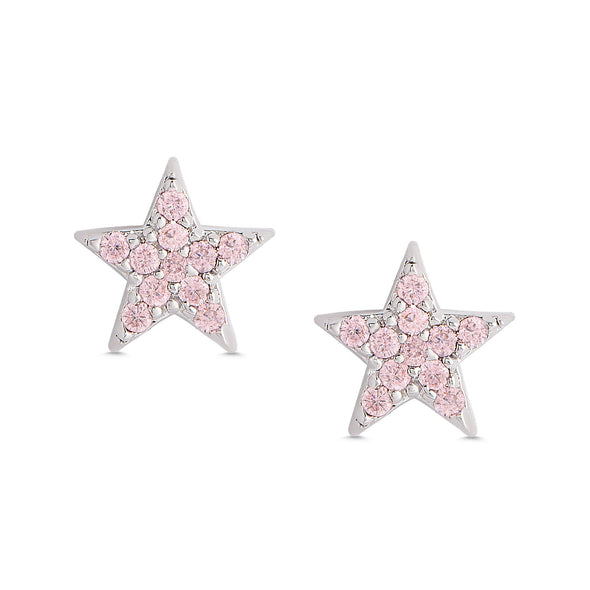 Pink CZ Star Stud Earrings in Sterling Silver