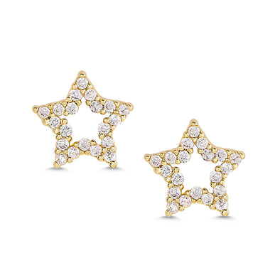 Open Star CZ Stud Earrings in 18k Gold over Sterling Silver