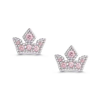 Princess Tiara CZ Stud Earrings in Sterling Silver