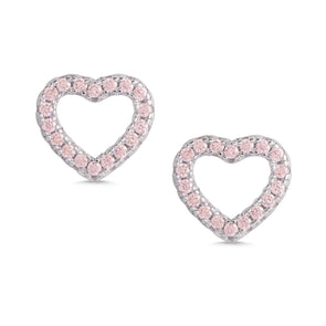 Open Heart Pink CZ Stud Earrings in Sterling Silver