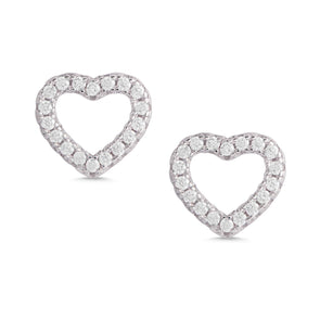 Open Heart CZ Stud Earrings in Sterling Silver