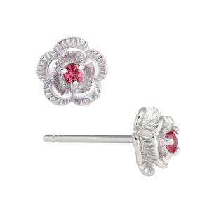 3D Flower CZ Stud Earrings in Sterling Silver