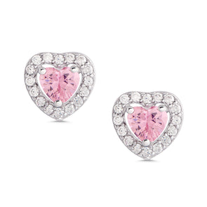 Pink & White CZ Heart Halo Stud Earrings in Sterling Silver