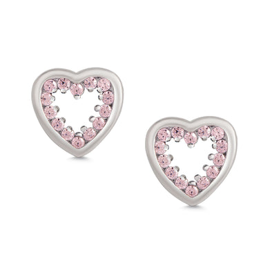 Inlaid Pink CZ Open Heart Stud Earrings in Sterling Silver