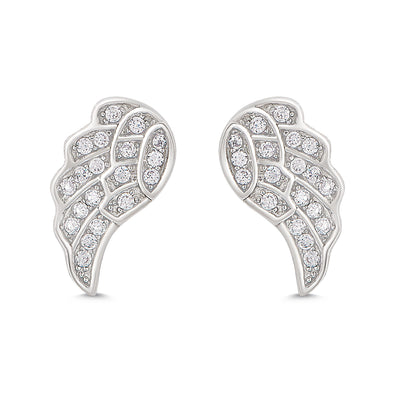 Angel Wings CZ Stud Earrings in Sterling Silver