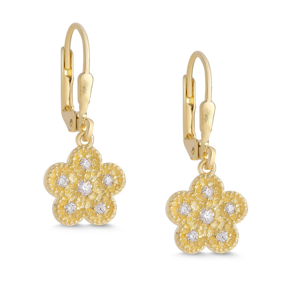 Hammered Flower CZ Dangle Earrings in 18k Gold over Sterling Silver