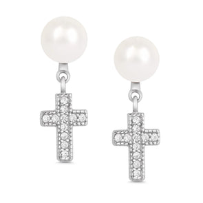 Freshwater Pearl and CZ Cross Dangle Earrings in Sterling Silver