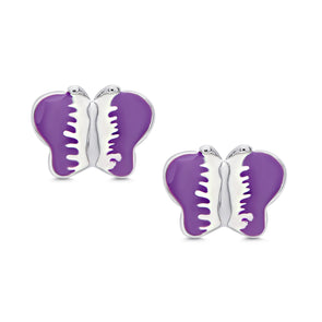 Butterfly Stud Earrings in Sterling Silver - Purple