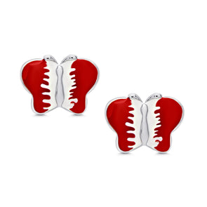 Butterfly Stud Earrings in Sterling Silver - Red