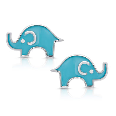 Elephant Stud Earrings in Sterling Silver