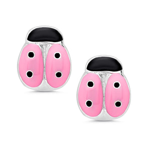 Pink Ladybug Stud Earrings in Sterling Silver