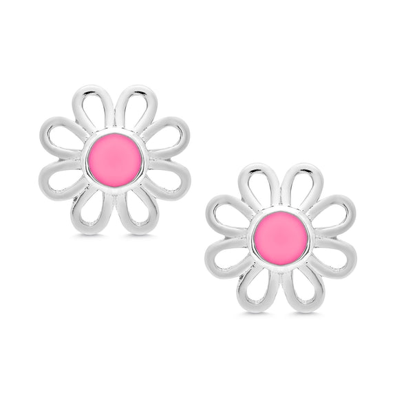 Pink Flower Stud Earrings in Sterling Silver