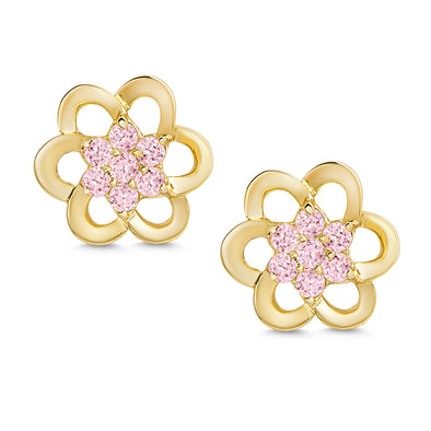 Pink CZ Flower Stud Earrings 18k Gold over Sterling Silver