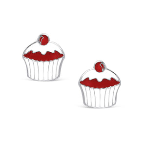 Cupcake Stud Earring in Sterling Silver
