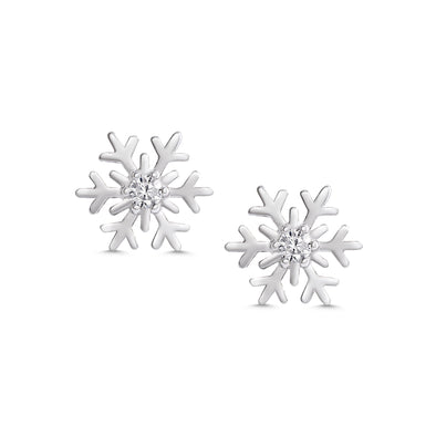 CZ Snowflake Stud Earrings