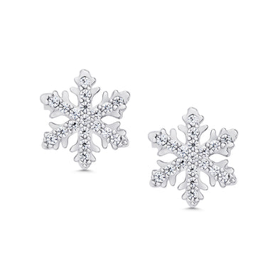Pave CZ Snowflake Stud Earrings