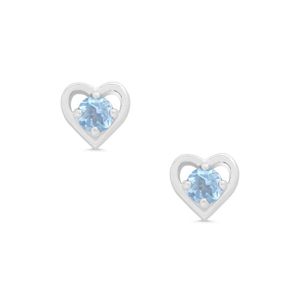 Blue CZ Heart Stud Earrings in Sterling Silver