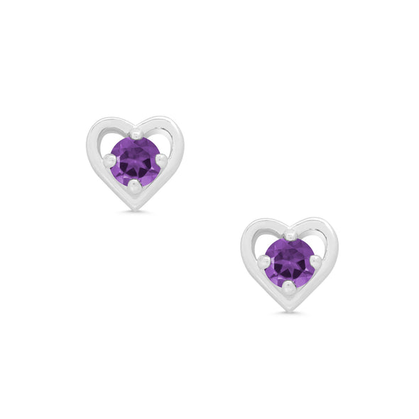 Purple CZ Heart Stud Earrings in Sterling Silver