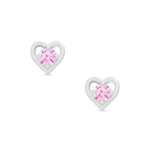 Pink CZ Heart Stud Earrings in Sterling Silver