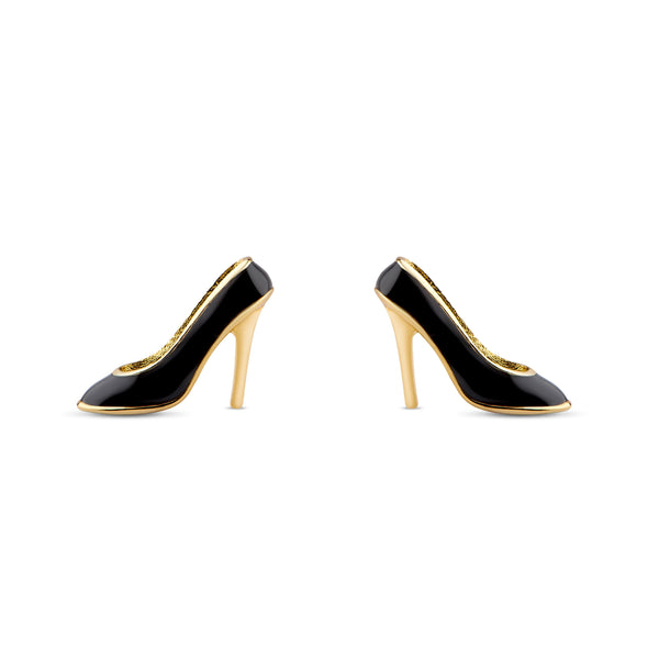 Black High Heels Stud Earrings in Sterling Silver