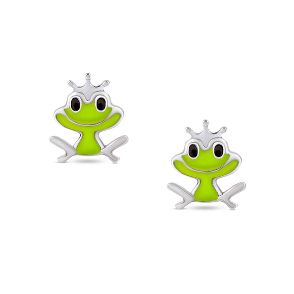 Frog Stud Earrings in Sterling Silver