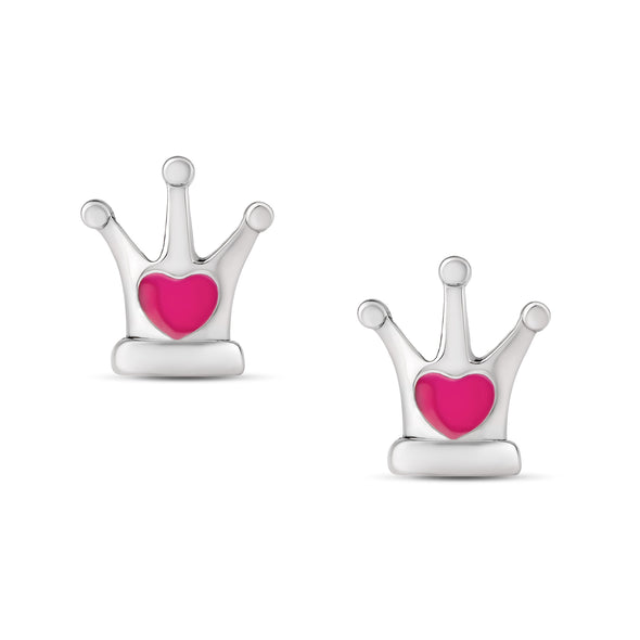 Pink Heart Crown Stud Earrings in Sterling Silver