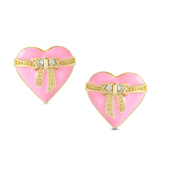 Heart & Ribbon Bow Stud Earrings
