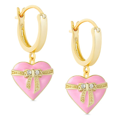 Heart & Ribbon Bow Dangle Earrings