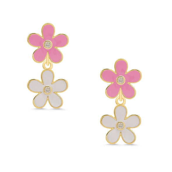 Double Flower CZ Dangle Earrings - Pink/White