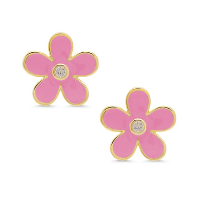 Flower CZ Stud Earrings - Pink