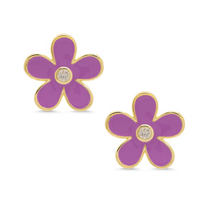 Flower CZ Stud Earrings - Purple