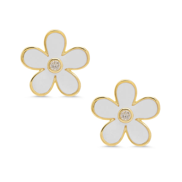 Flower CZ Stud Earrings - White
