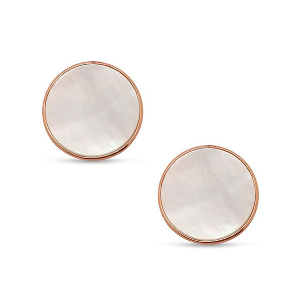 Mother of Pearl Stud Earrings - Rose Gold Plated