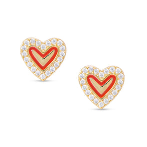 Red Heart & CZ Stud Earrings