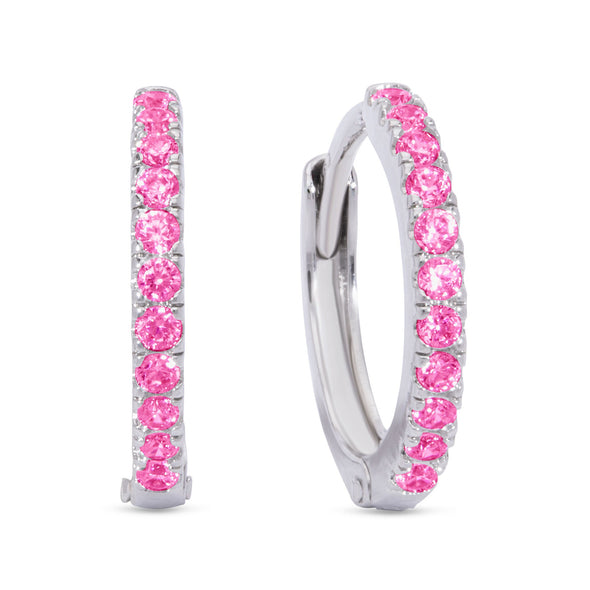 CZ Hinged Hoop Earrings - Pink