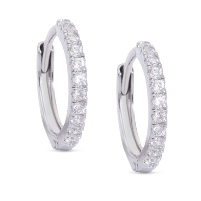 CZ Hinged Hoop Earrings - White