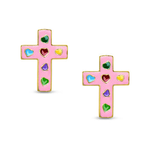 Cross Stud Earrings - Pink