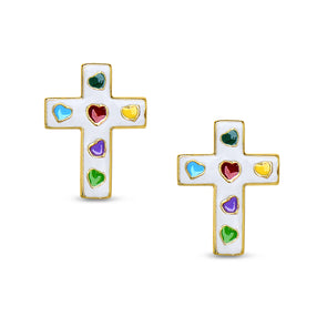 Cross Stud Earrings - White