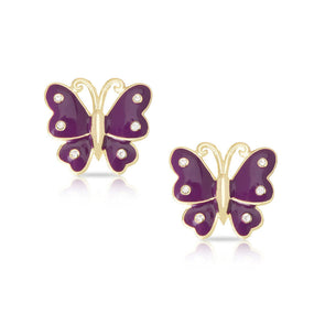Butterfly Stud Earrings with Crystals