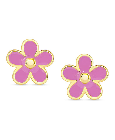 Flower Stud Earrings (Pink)