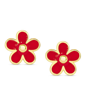 Flower Stud Earrings (Red)