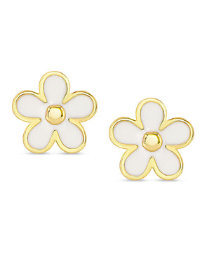 Flower Stud Earrings (White)