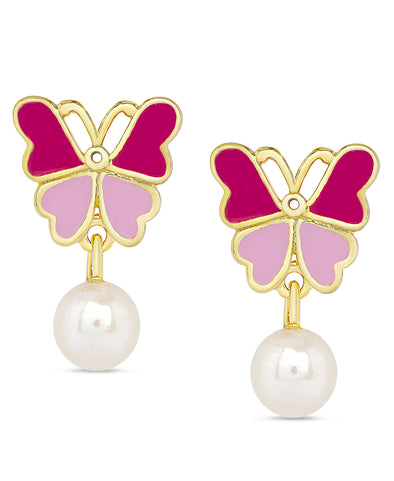 Butterfly and Freshwater Pearl Dangle Earrings (2-Tone Pink)