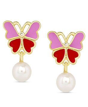 Butterfly and Freshwater Pearl Dangle Earrings (Pink/Red)