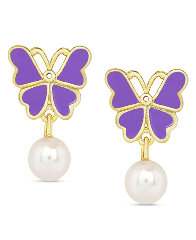 Butterfly and Freshwater Pearl Dangle Earrings (Purple)