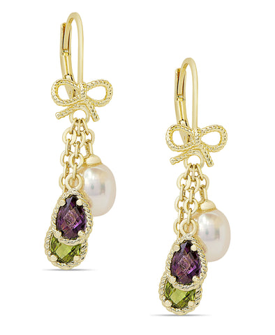 CZ and Pearl Charms Bow Earrings