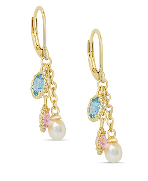 CZ & Pearl Charms Earrings