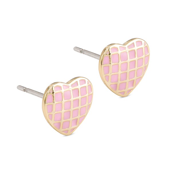 Lattice Heart Stud Earrings