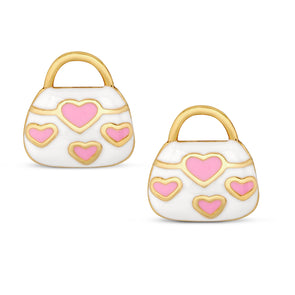 Pink Hearts Handbag Stud Earrings